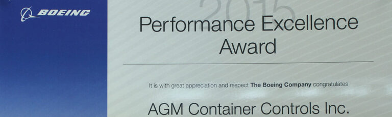 AGM received the 2015 Gold Level Boeing Performance Excellence Award, which is issued annually to recognize suppliers who have achieved a superior performance rating for each month during a 12-month period.