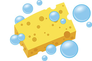 A sponge soaking up water is a great analogy for absorption and adsorption.