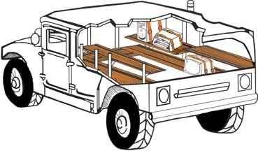 Cutaway illustration depicting tie-down shelving installed in a military humvee mobile command center