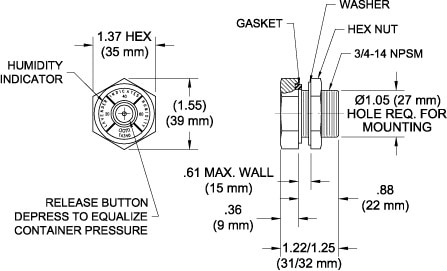 TA340-R Combination Breather Valve & Humidity Indicator drawing