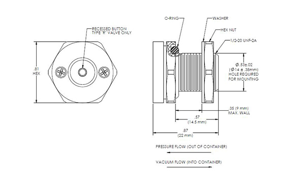 TA225 Two-Way Breather Valve Drawing