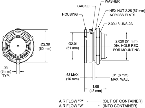 TA750 one-way Pressure and Vacuum Relief Valve Drawing