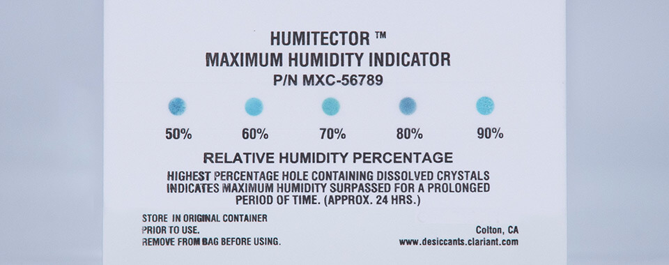 Humitector Nonreversible Maximum Humidity Indicator Card